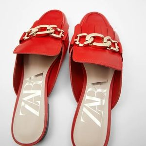 RED ZARA LINK CHAIN MULES